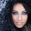 Woman in a snowy furry hood — Stock fotografie