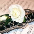 Close up of clarinet on a score with wite rose — Stock Photo