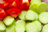Salad from cucumbers and tomatoes — Stock Photo