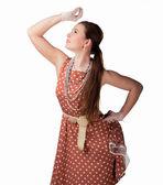 Girl in polka dot dress — Photo