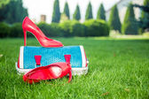 Women's shoes are on the bag and on the ground, women's summer shoes — Stock Photo