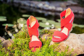 Comfortable summer sandals on nature — 图库照片