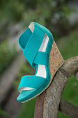 Women's sandals are on the wheel, Italian shoes — Stok fotoğraf