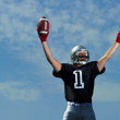 American Footballer celebrates being number one - Stockfoto
