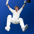 A cricketer celebrates. - Foto de Stock
