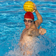 Water Polo player shouts to team mate befroe passing ball. - Stockfoto