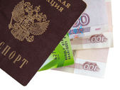 Collage Russian passport, money, credit card — Stock Photo