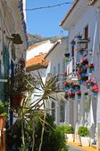 Colorful street in the white Benalmadena Pueblo, Spain — Stock Photo
