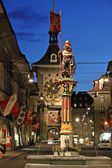 Town centre of Berne, Switzerland at dusk — Stock Photo
