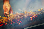 Grilled satay on the streets of Jakarta — Stock Photo