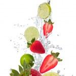 Splash con frutti — Foto Stock