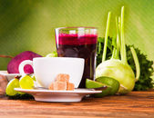 Fruits and coffee — Stock Photo