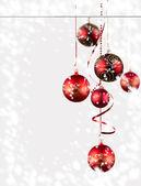 Christmas balls with snow — Stock Photo