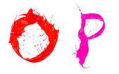 Colored liquid alphabet — Stockfoto