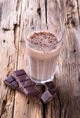 Fresh milk shake on wood — Stock Photo