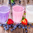 Fresh fruits milk shake on wood — Stockfoto #43222065