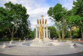 Escultura no parque de mulheres em skopje — Foto Stock