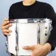 Happy man with big drum — Stock Photo