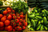 Various vegetables in boxes at market — Stock Photo
