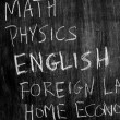 School subjects on blackboard — Stock Photo