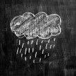 Chalk drawing of raincloud on blackboard — Stock Photo #28972837