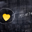 Heart shaped note on blackboard circled — Stock Photo
