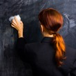 Businesswoman wiping her slate clean — Stock Photo #29177387