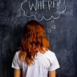 Redhead woman asking where — Stock Photo