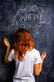 Confused redhead woman asking where — Stock Photo