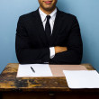 Happy businessman has just signed important deal — Stock Photo