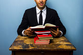 Young law student reading books — Stock Photo