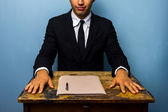 Confident businessman has just closed a deal — Stock Photo