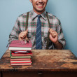 Young geek excited about studying — Stock Photo