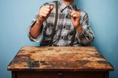 Lumberjack ready for a fight — Stock Photo