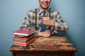 Geek man giving thumbs up — Stock Photo