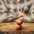Man and two apples — Stock Photo