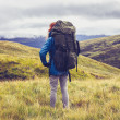 Hill walker standing in the middle of mountain wilderness — Stock Photo