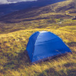 Wild camping with tent on mountain — Stock Photo
