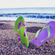 Flip flop sandals on the beach — Stock Photo