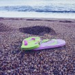 Flip flop sandals on the beach — 图库照片