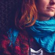 Woman with blue scarf — Stock Photo
