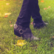 Shoes walking on grass — Stock Photo #35104807
