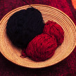 Knitting yarn in basket — Stock Photo