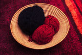Knitting yarn in basket — Foto de Stock