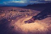 Wanderer, die entspannung der beine am strand bei sonnenuntergang — Stockfoto