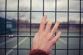 Hand holding wire fence — Stock Photo