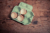 Egg shells on table — Photo