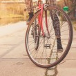 Woman on bicycle by canal — Stock Photo