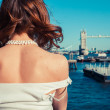 Young woman admiring the River Thames — Stock Photo #43093653