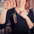 Woman with dead mouse in kitchen — Stock Photo #43254949